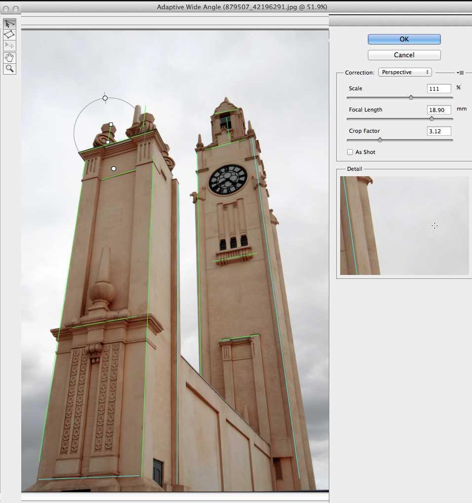 adaptive wide angle screenshot photoshop