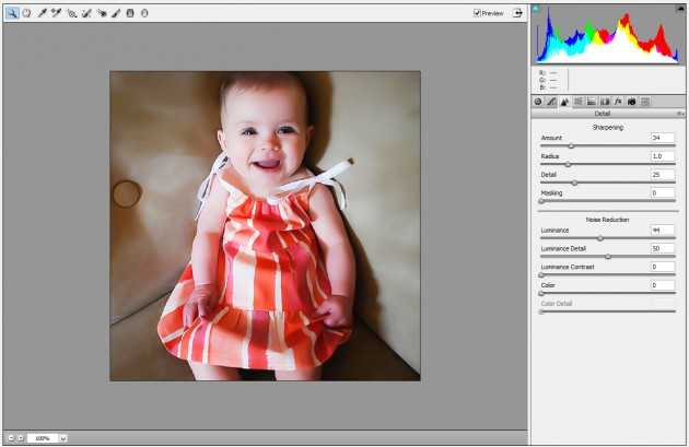 Camera Raw filter Photoshop baby 2