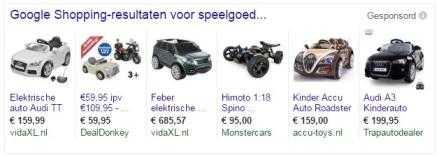Voorbeeld zoekresultaten: Speelgoedauto elektrisch