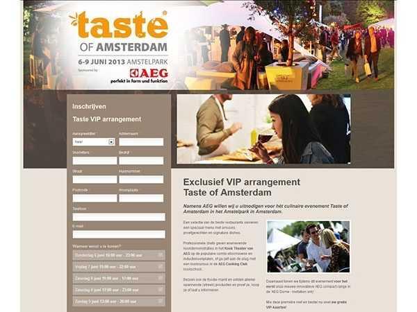Registratiepagina's voor AEG