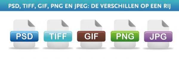 PSD, TIFF, GIF, PNg en JPEG bestandstypes